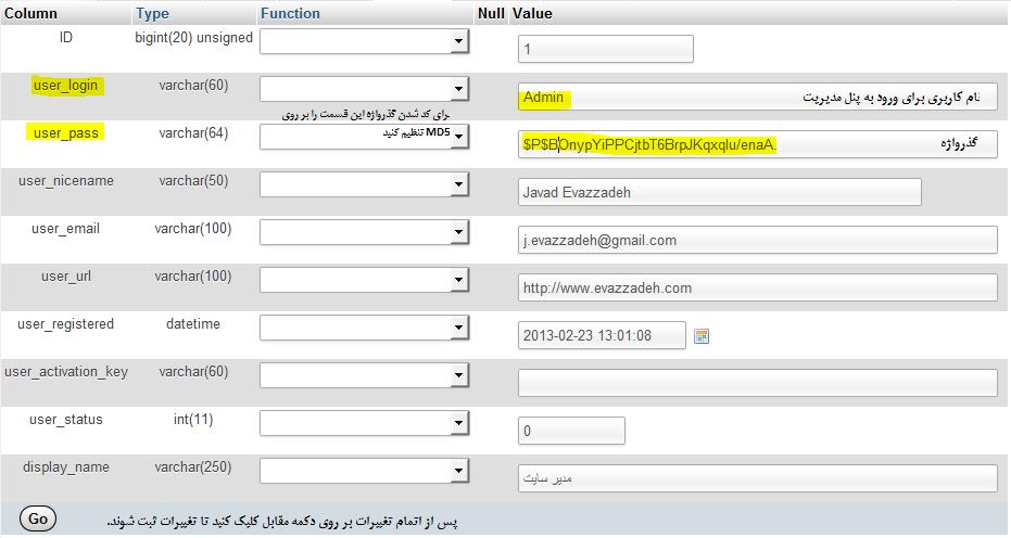 تغییر کلمه عبور وردپرس از طریق phpmyadmin